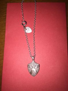 Me & Ro Sterling Silver Star DIAMOND Lg Shield Pendant Necklace Retired! Ylang23