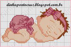 Dinha Ponto Cruz: Gráfico de bebes em ponto cruz