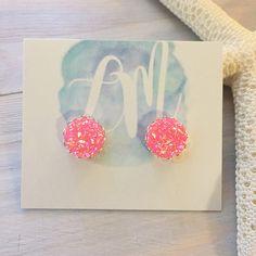 Pink Stud Earrings  Pink Druzy Earrings  Faux Druzy Earrings