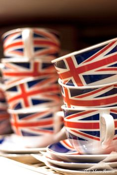 Miss M's Girls Trip / karen cox.  London.  Union Jack Tea Cups