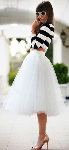White Plain Draped Grenadine New Fashion Latest Women Puffy Tulle High Waisted Knee Length Adorable Tutu Skirt