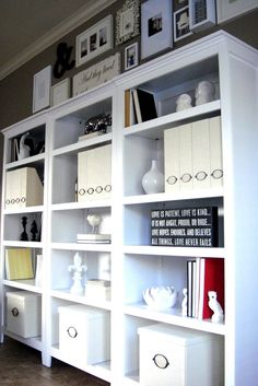 Shelves + gallery wall = awesome. Carson 5-Shelf Bookcase,Target, $95.00 each.