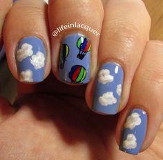 hot air balloon themed nail art