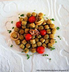 Daniela&Diocleziano: Gnocchi integrali bio con calamari, pomodorini caramellati e pesto