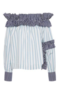 Striped Off the Shoulder Top  by MSGM Now Available on Moda Operandi