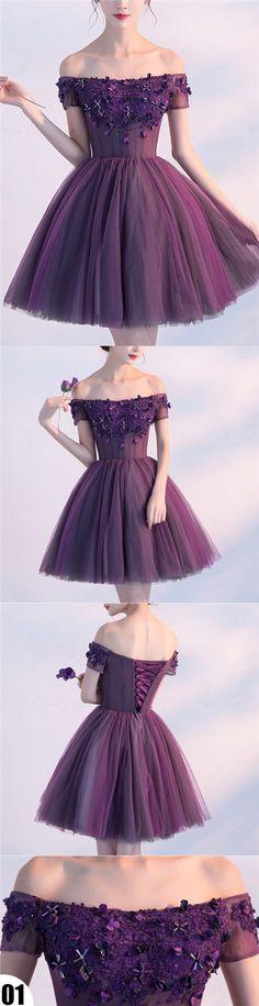 2017 Homecoming Dress Purple Off-the-shoulder Short Prom Dress Party Dress JK208