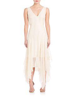 Foundrae Pleated V-Neck Dress - Cream - Size