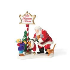 """$23.81-$35.00 Department 56 Snow Village Santa Comes To Town, 2009 - Size: 4"""" x 3.5"""" x 4.5"""". Introduced: 2008. http://www.amazon.com/dp/B001TG5SM4/?tag=pin2wine-20"""