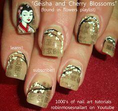 Nail-art by Robin Moses: robin moses nails, cherry nail, geisha nail, cherry blossom nail, newspaper nail, chinese newspaper nail, cherry bl...