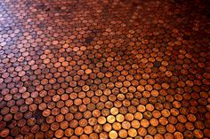 Copper Penny Floor - what a good idea! And you can do tables, walls, etc., with pennies, whoever would have thunk?