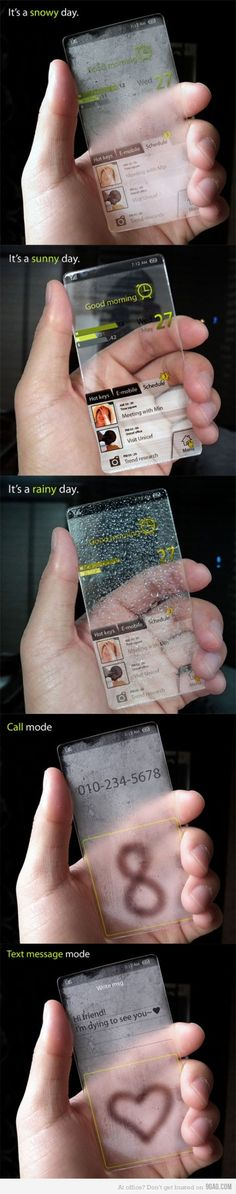 see through glass cellphone smartphone snowy days, sunny days, rainy days , text mode, call mode March 2015