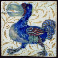 Tile with bird design (ceramic) Creator     Morgan, William De (1839-1917)