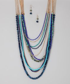 Take a look at this Blue & Turquoise Crystal Goddess Necklace & Earrings by Felicia LTD on #zulily today!