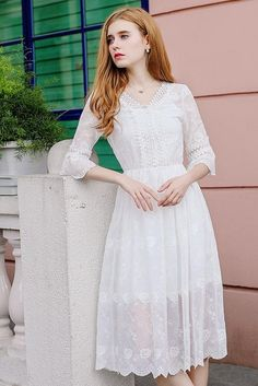 Wasteheart Summer White Chiffon Lace Women Long Dresses Halter Holiday Sexy Plus Size Sundress Sweet Dresses Bodycon Perspective Girly Outfits, Dress Outfits, Fashion Dresses, Beautiful Dresses, Nice Dresses, Casual Dresses, Long Dresses, White Chiffon, White Lace