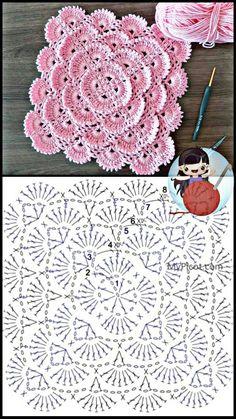 Crochet Motif Patterns, Granny Square Crochet Pattern, Crochet Squares, Crochet Chart, Crochet Designs, Crochet Flower Tutorial, Crochet Instructions, Crochet Leaves, Crochet Flowers