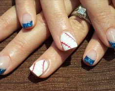 Baseball Nails - next season, except with green instead of blue tips!