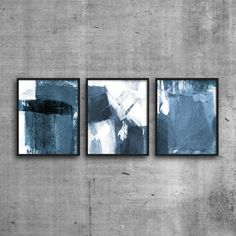 Blue & White Scandinavian Style Prints, Set of 3, Triptych, Abstract Art, Minimalist Art, Modern Home Decor by MinimalInstant on Etsy