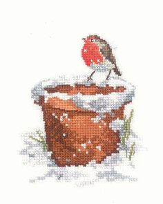 Robin cross stitch kit based on the artwork of Sue Hill