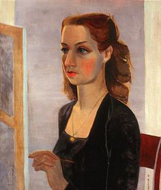Francoise Gilot, Portrait in Black, (Myself at Work), 1943