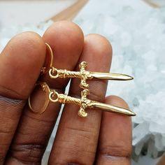 447b0b5fb Gold Sword Necklace and Earrings - Statement Jewelry set for men or women -  Statement sword earrings - dagger earrings