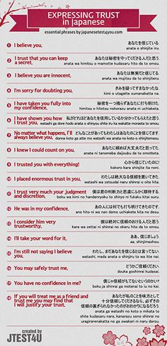 Infographic: how to express your trust in Japanese