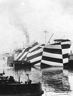 Dazzle camouflage, also known as razzle dazzle or dazzle painting, was a family of ship camouflage used extensively in World War I and to a lesser extent in World War II. Credited to artist Norman Wilkinson, it consisted of complex patterns of geometric shapes in contrasting colours, interrupting and intersecting each other. http://en.wikipedia.org/wiki/Dazzle_camouflage