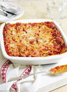This makes a real change from classic lasagne and is so much quicker: no béchamel sauce, just crème fraîche, and the tomato sauce is not cooked beforehand.