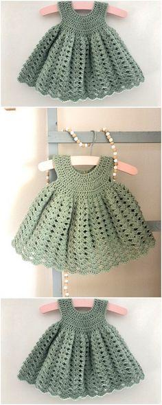 Crochet Baby Dress Free Pattern, Newborn Crochet Patterns, Baby Girl Dress Patterns, Kids Crochet, Baby Girl Crochet, Crochet Baby Clothes, Crochet Dresses, Free Crochet, Baby Knitting Free