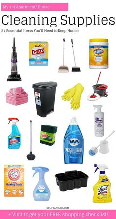 moving into a new place, you'll need these cleaning supplies to make sure your stay is as clean and as comfortable as possible. Visit for your FREE cleaning supplies shopping checklist! Perfect for your first apartment or new house!