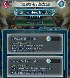 Fire Emblem Heroes - content update for June 9   - Grand Hero Battle featuring Zephiel is back - new set of Special Quests is now available: ''Grand Hero Battles'' - allows you to get some Orbs and a 3 version of Zephiel - both available until June 16  from GoNintendo Video Games