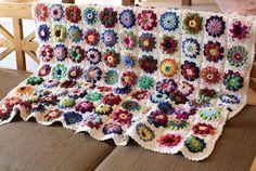 Handmade Cotton crochet blanket hand crochet by peacockland, $230.00