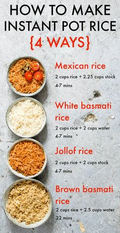 Do you want to make PERFECT Instant Pot rice? Let me show you how with four awesome Instant Pot rice recipes: Instant Pot White Rice, Instant Pot Brown Rice, Instant Pot Jollof Rice and Instant Pot Me Crock Pot Recipes, Recetas Crock Pot, Slow Cooker Recipes, Ninja Recipes, Crock Pot Rice, Crockpot Brown Rice, King Pro Pressure Cooker Recipes, Pressure Cooker Recipes Vegetarian, Juicer Recipes