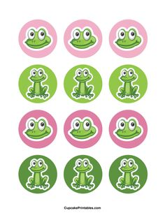 Use the circles for cupcakes, party favor tags, and more… Frog Cupcakes, Wedding Cakes With Cupcakes, Wedding Cakes With Flowers, Wedding Cake Toppers, Cupcake Toppers, Fondant Cupcakes, Flower Cakes, Frog Birthday Party, Beginning Of Kindergarten