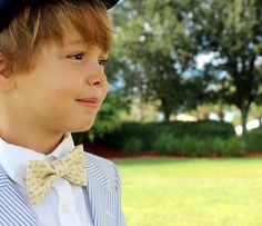 Boys Christian Religious Bow Tie - Cross and Fish on Cream Cotton Bowtie, Infant Baby, Toddler, Child, Preteen Sizes