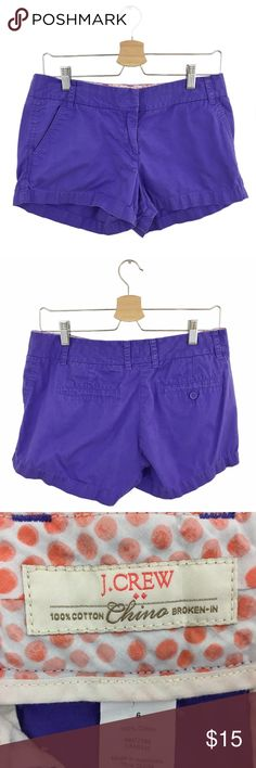 """J. Crew Factory Purple Chino 3"""" Shorts Size 6 J. Crew Factory Purple Chino 3"""" Shorts. Size 6. Great Used Condition. Some fading--especially on the front waist band (see last photo). A MUST HAVE for this summer! 100% Cotton. Machine wash. Tumble dry low. Waist: 16"""". Rise: 9"""". Inseam: 3"""". Length: 11"""". J. Crew Shorts"""
