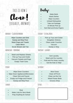 FREE Printable Daily Cleaning Schedule. It will keep you on track throughout the week so you always have a clean home!