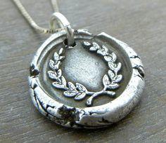 Wax Seal Necklace - LAUREL Wax Seal Fine Silver Necklace