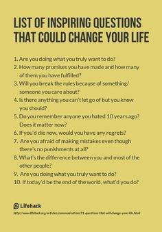 List of Inspiring Questions That Could Change Your Life