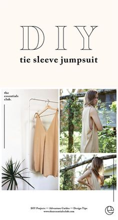 DIY shift jumpsuit with tie strap details – by The Essentials Club. A comfy, cut… DIY Jumpsuit with Tied Ribbon Details – by The Essentials Club. Diy Jumpsuit, Jumpsuit With Sleeves, Diy Clothing, Clothing Patterns, Sewing Patterns, Sewing Clothes Women, Designer Clothing, Sewing Projects For Beginners, Sewing Tutorials