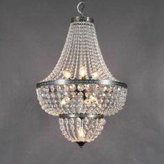 Lámpara de araña VALENCIA 50 - Lámpara cogalnte de estilo clásico con cuentas de cristal. ¡Un auténtico deleite para sus ojos!