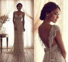 Wholesale Backless Wedding Dress - Buy Luxury Mermaid Wedding Dresses Sheer V Neck Capped Sleeves Sash Empire Backless Summer Lace Bridal Gowns with Bow Sequins Beads BO2212, $144.11 | DHgate