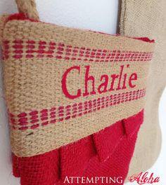 DIY personalized burlap stockings. Love the pleats!