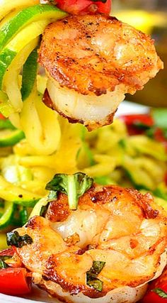Garlicky Tomato-Basil Shrimp with Zoodles