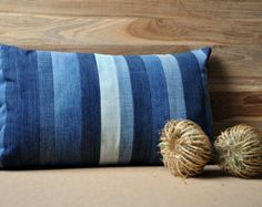 Unique Pillow / Cushion / Pillowcover Denim Strips made from Vintage, Old and Worn Jeans 30 x 50 cm - 12 x 20 inch - Vintage Stripes 5