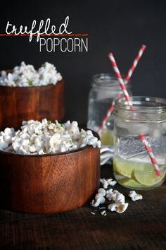 Truffled Popcorn // shutterbean - I'm going to make this for snacking on with cocktails for the YWCA girls dinner Popcorn Recipes, Dog Food Recipes, Snack Recipes, Truffle Butter, Truffle Oil, Salted Butter, Truffle Popcorn, Tasty, Yummy Food