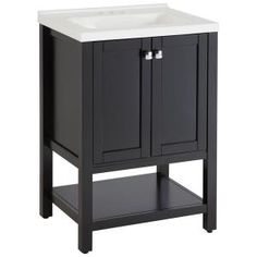 Paul, Sea Bright in. Vanity in Black with Stone Effects Vanity Top in Round Rock, at The Home Depot - Tablet Dark Wood Bathroom, Small Bathroom Vanities, Bathroom Kids, Bathroom Renos, Kids Bath, Basement Bathroom, Sea Bright, Rental Bathroom, Black Vanity