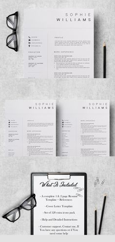 Clean and Simple CV Resume & Cover Letters Microsoft Word Resume Template, Sample Resume Templates, Resume Design Template, Cv Template, Cover Letter For Resume, Cover Letter Template, Simple Cv, Guide Words, Resume Words