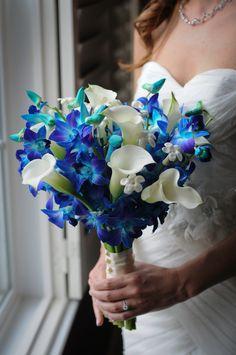 Bride's Gorgeous Hand Tied Bouquet Featuring: White Calla Lilies, White Stephanotis, Blue Dendrobium Orchids