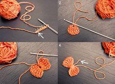 gehaakte strikjes - crochet bows (free English tutorial) in oranje, of rood-wit-blauw Crochet Hair Bows, Crochet Hair Accessories, Crochet Hair Styles, Love Crochet, Diy Crochet, Crochet Crafts, Yarn Crafts, Crochet Projects, Appliques Au Crochet