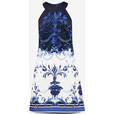 Ted Baker Persian Blue halter neck tunic ($210) ❤ liked on Polyvore featuring tops, tunics, halter tunic, white sleeveless top, sleeveless tunic, halter top and white sleeveless tunic